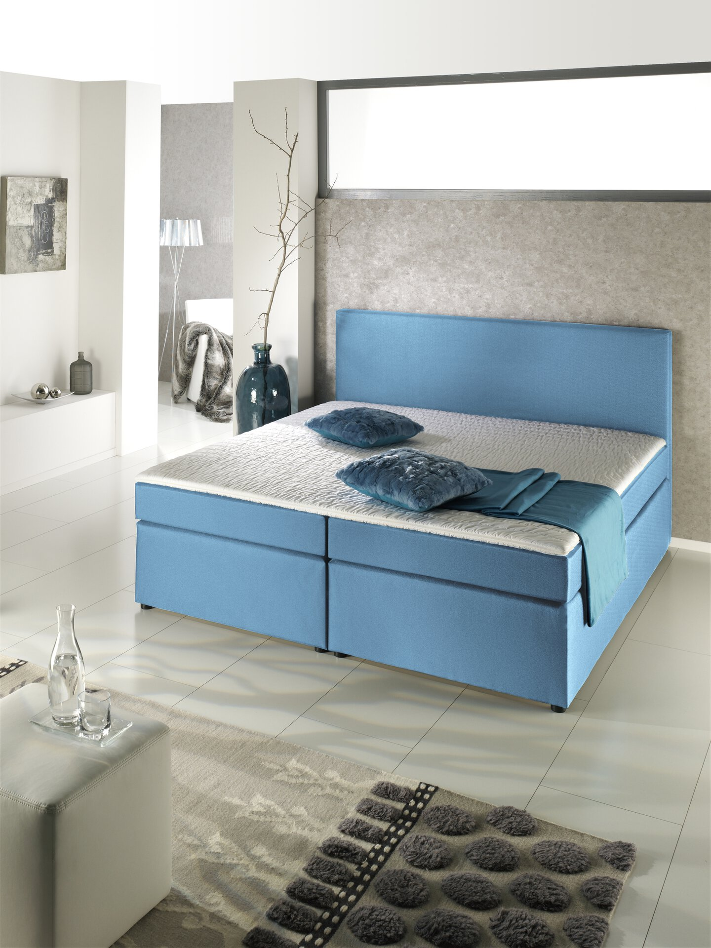 Boxspringbett MICHIGAN Sun Garden Textil Blau 208 x 105 x 140 cm