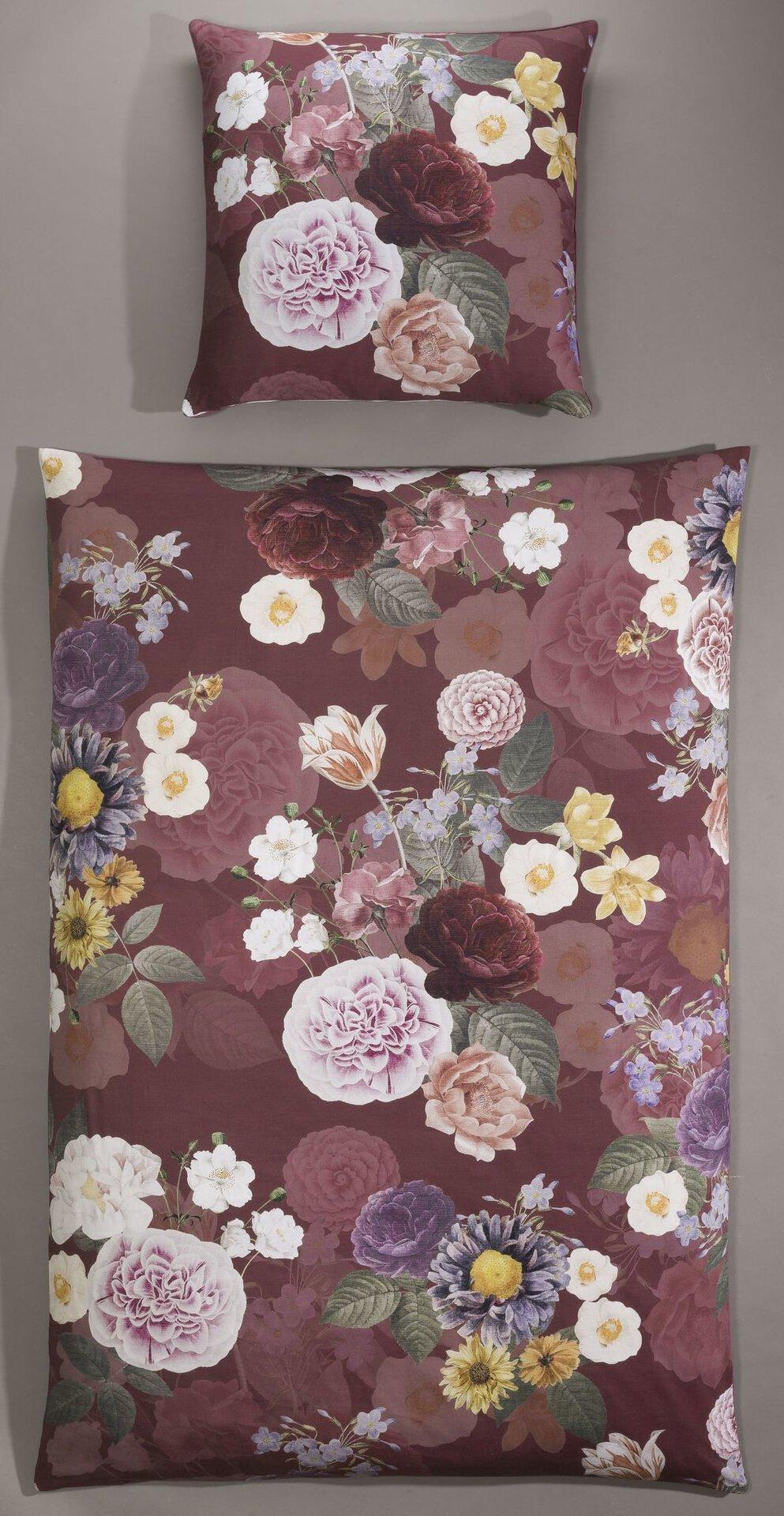 Satin-Bettwäsche Digital-Blumen Casa Nova Textil rot 155 x 220 cm
