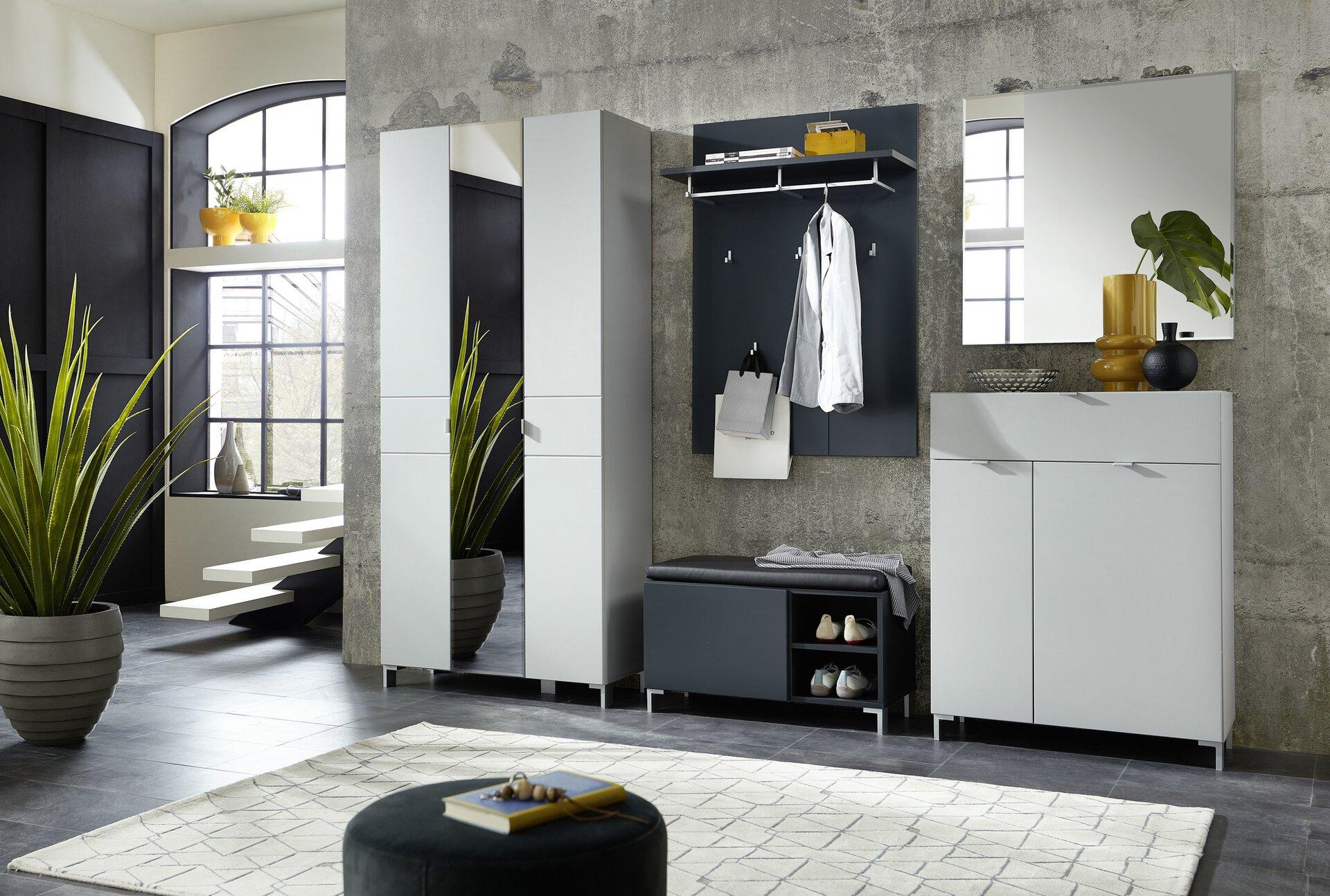 Garderobenpaneel KEYTO Vito Holzwerkstoff grau 30 x 116 x 80 cm