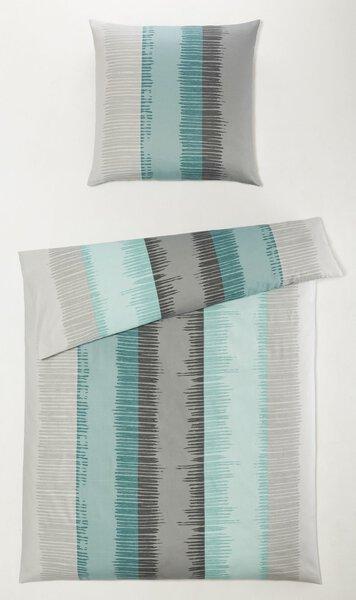 Satin-Bettwäsche Casa Nova Textil blau/grau