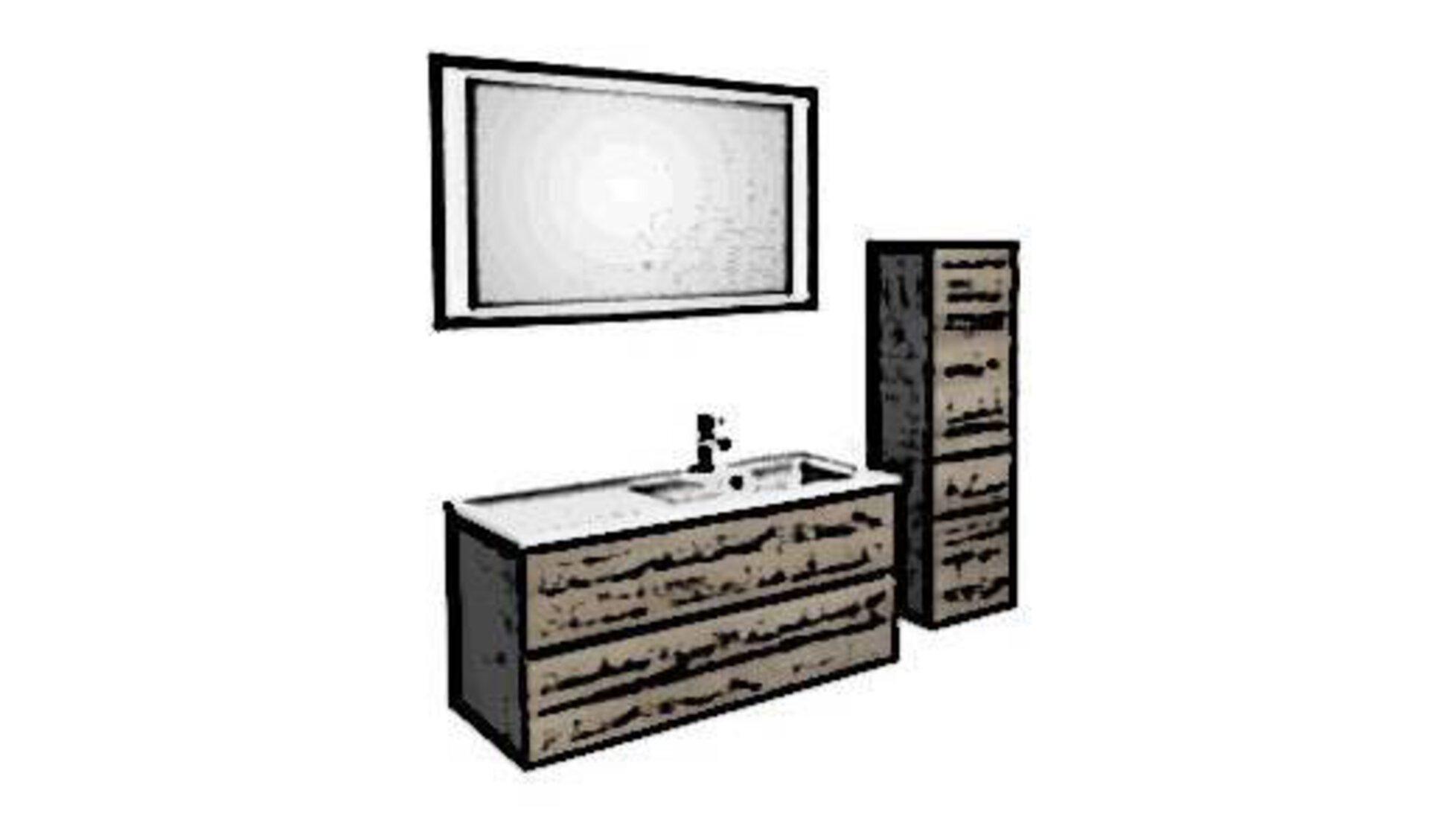Badezimmerset aus Holz, bestehend aus Waschtisch inkl. eingelassenem weißen Keramikwaschbecken, beleuchtetem Wandspiegel und einem Schrank.