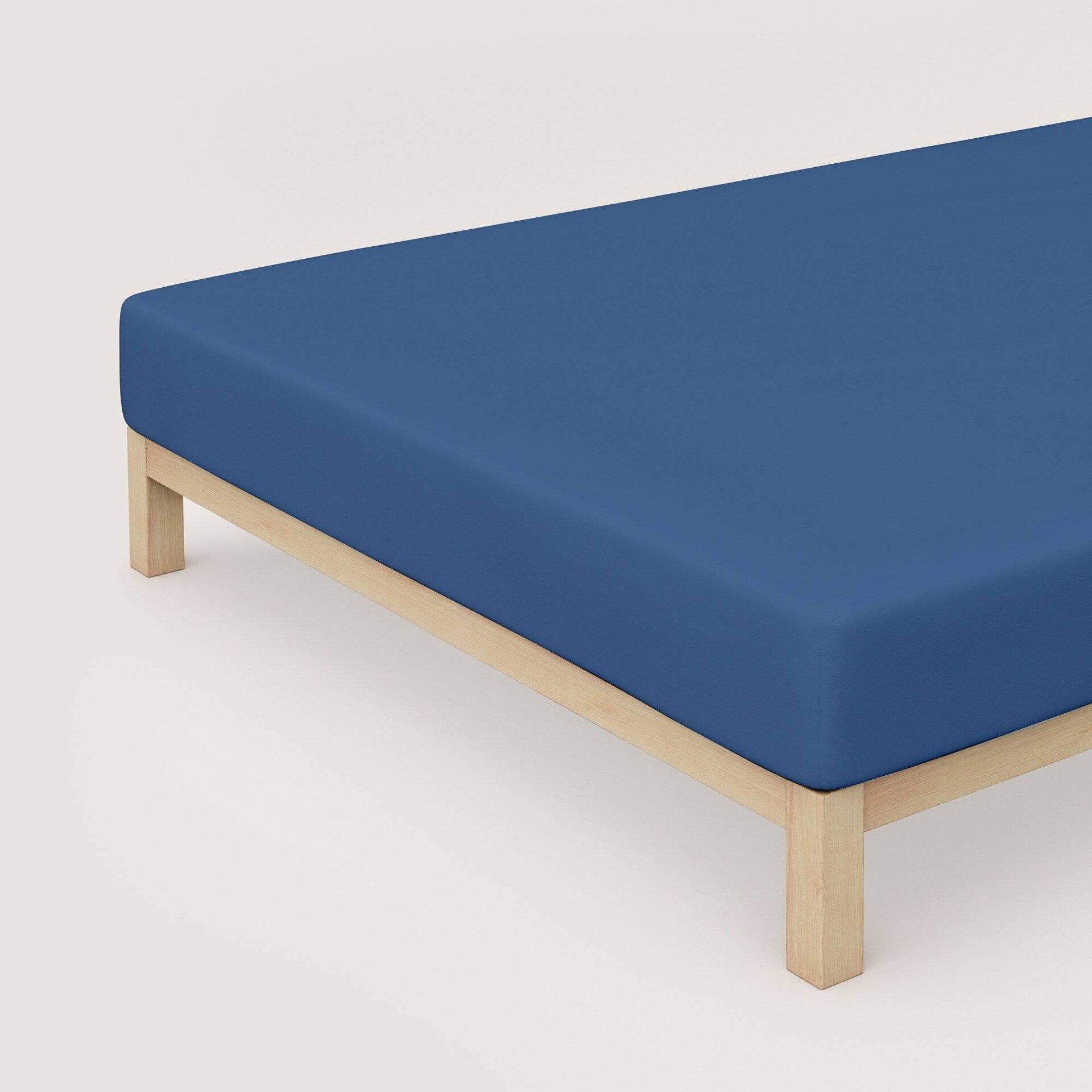 Jersey-Spannbetttuch Schlafgut Textil Blau 180 x 200 cm