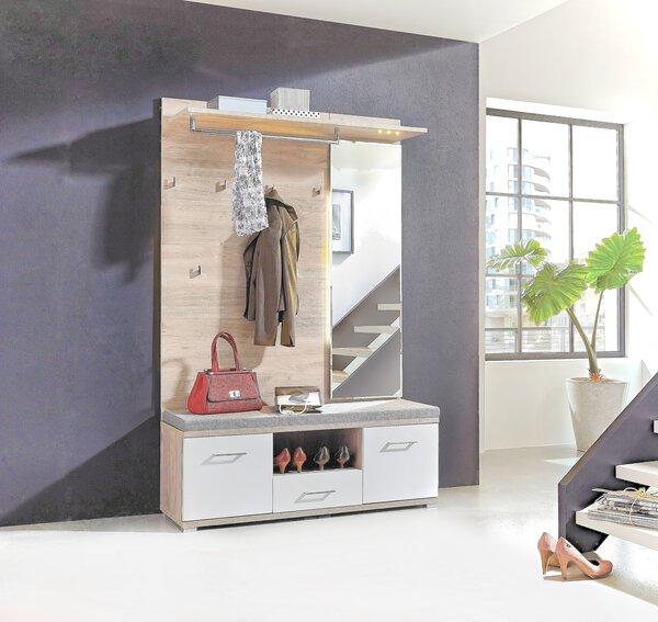 Garderobe inDoor Holzwerkstoff Lack weiß Silbereiche Nachbild