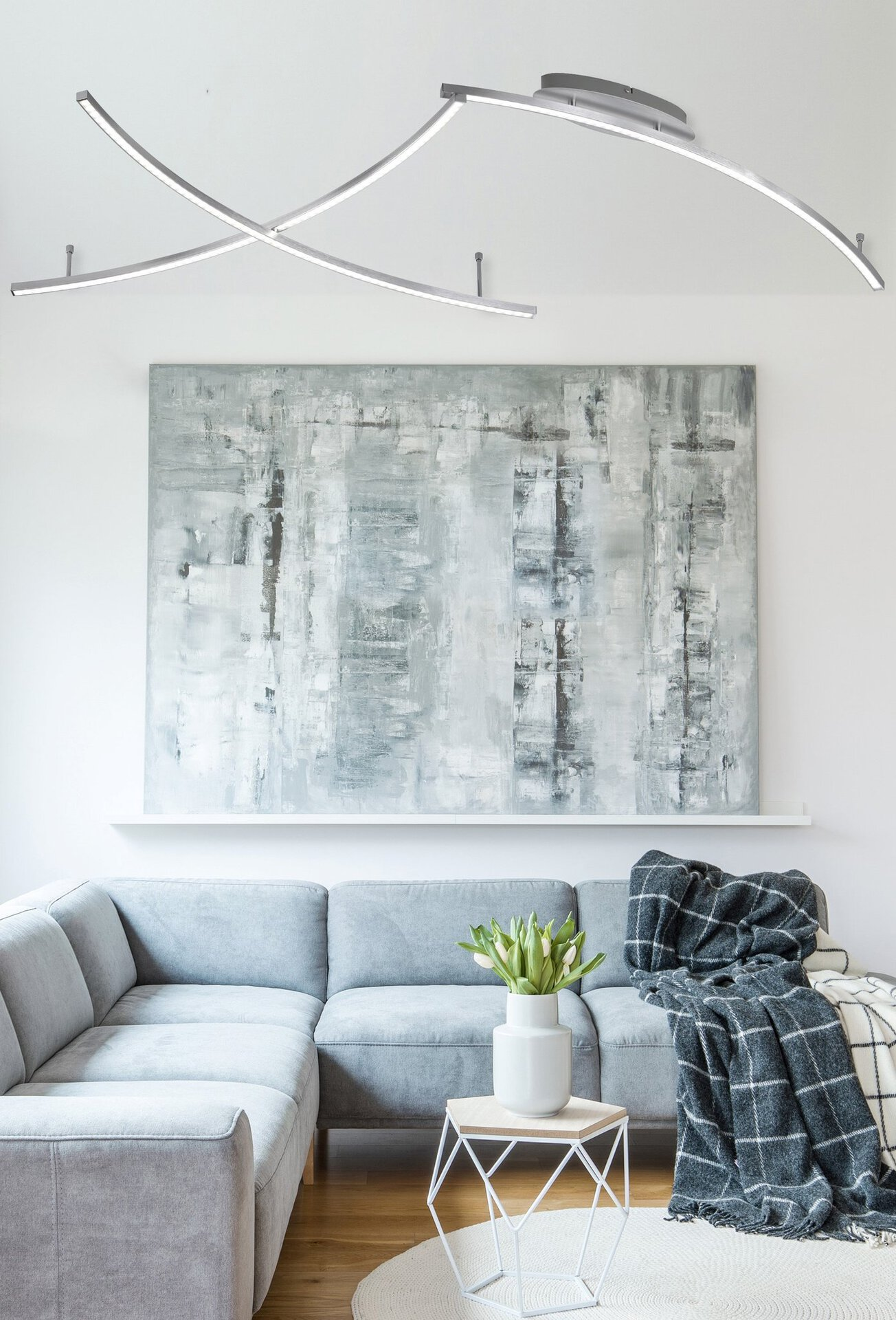 Deckenleuchte Mons Wofi Leuchten Metall silber 97 x 10 x 190 cm