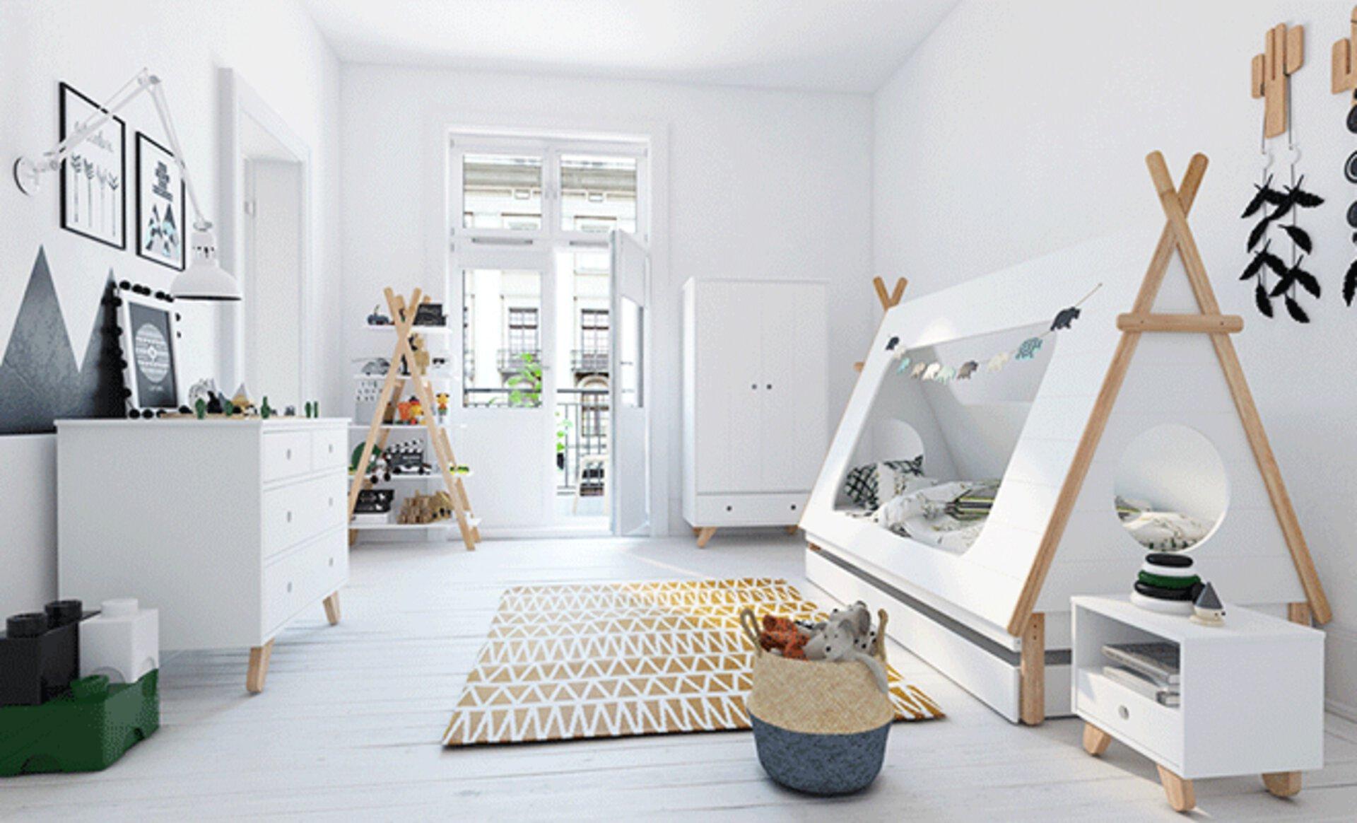 ein helles Kinderzimmer mit Bett in Zeltoptik passt zu jedem Einrichtungsstil. Perfekt aufeinander abgestimmte Kinderzimmermöbel finden Sie bei Möbel Inhofer.