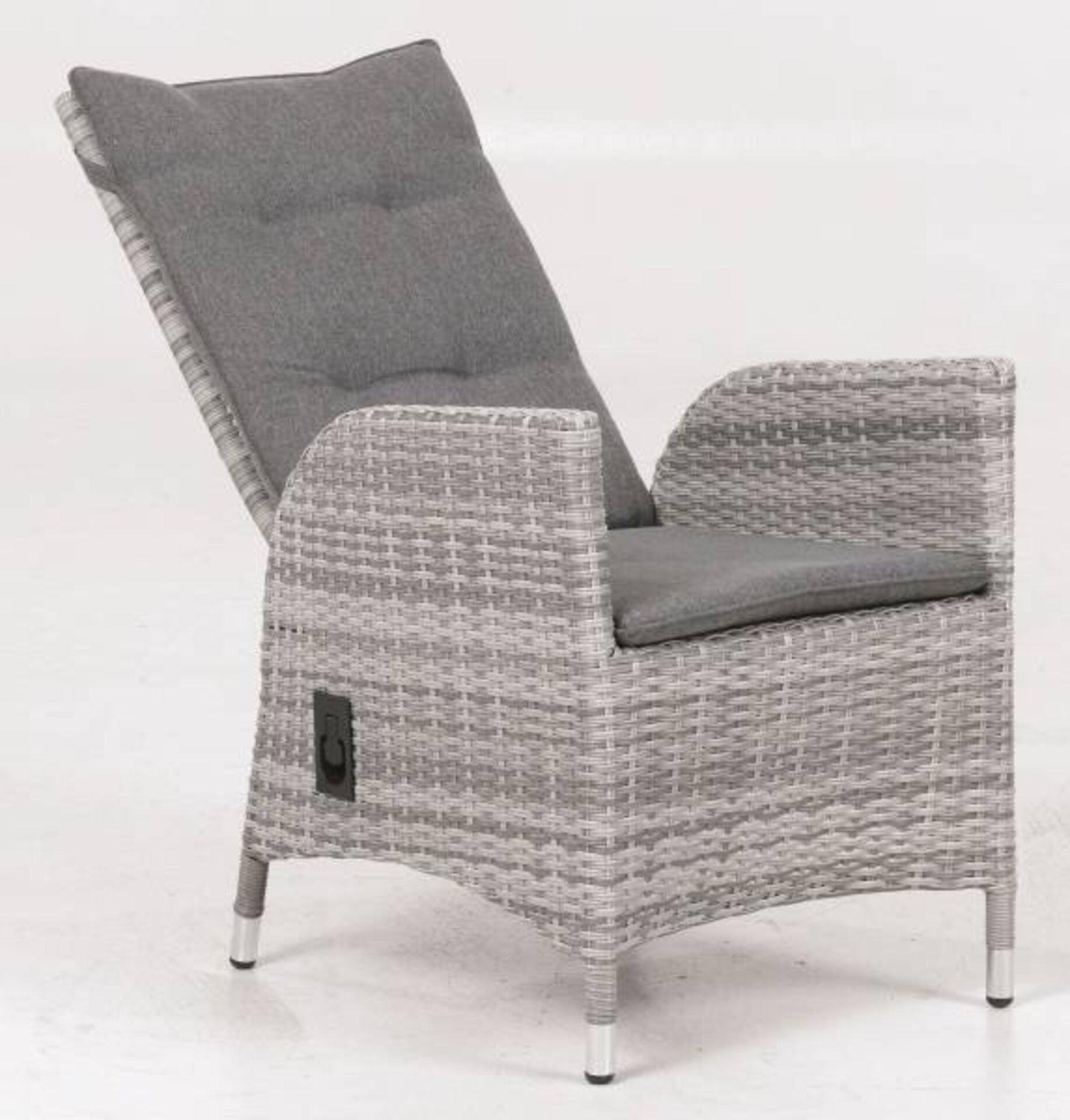 Gartenstuhl Parma Outdoor Textil grau 106 x 62 x 60 cm