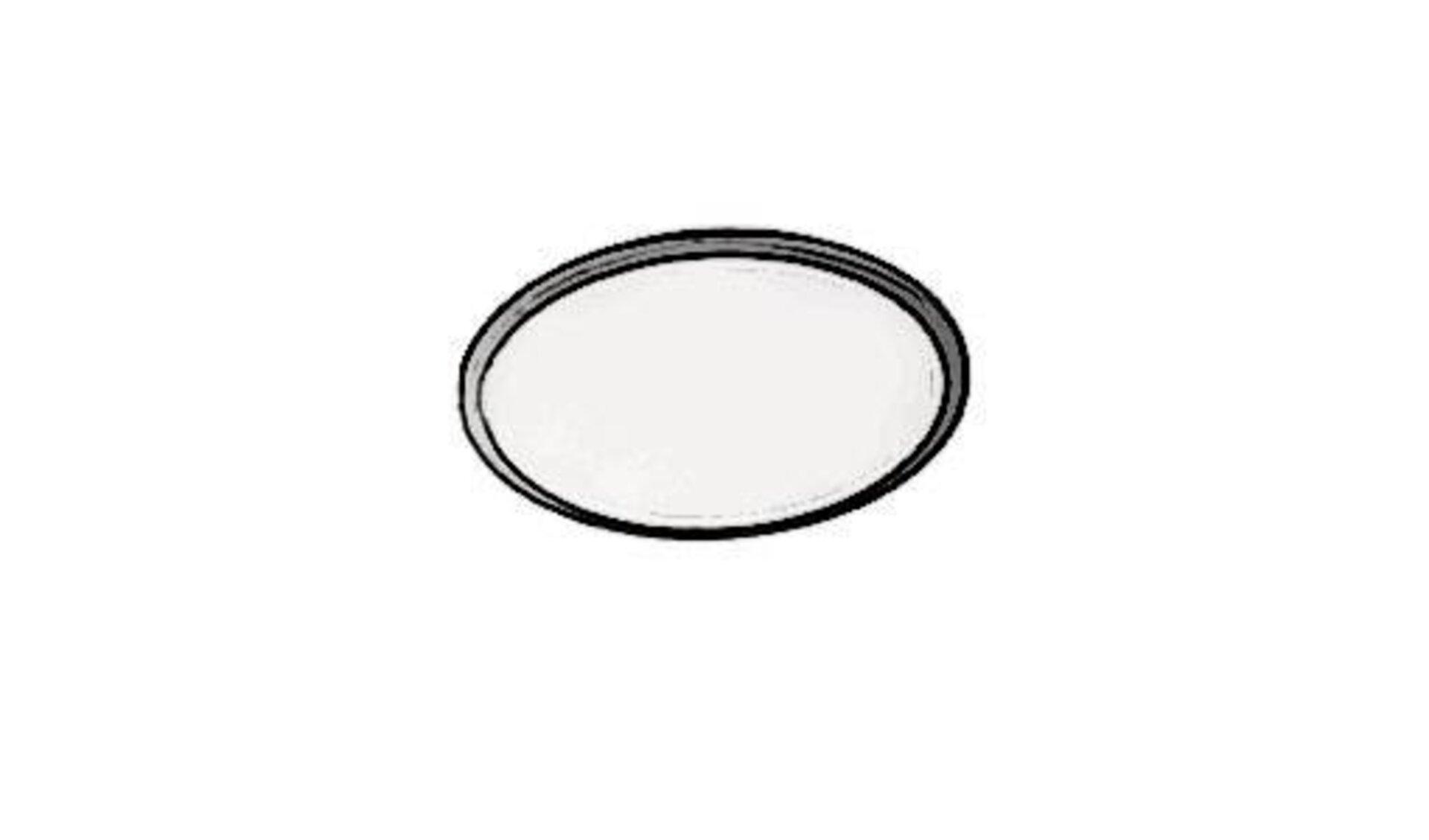 Badleuchte als runde Deckenlampe mit Milchglas zur Abdeckung der Glühbirne und Edelstahl Ring als Abschluss für eine moderne Optik.