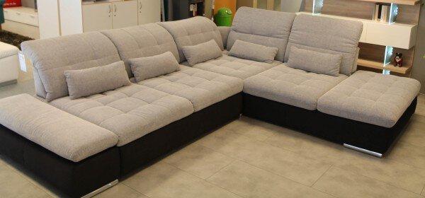 Ecksofa CELECT Textil Stoff hellgrau ca. 278 cm x 96 cm x 323 cm