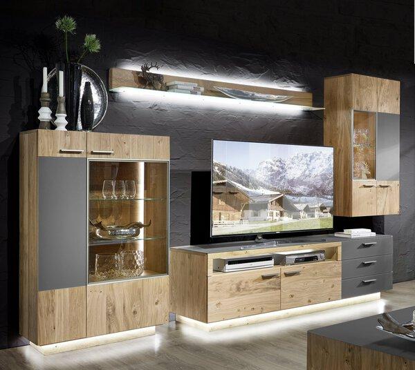 Wohnwand Schröder Wohnmöbel Holz Kernasteiche furniert natur ca. 340 cm x 202 cm x 55 cm