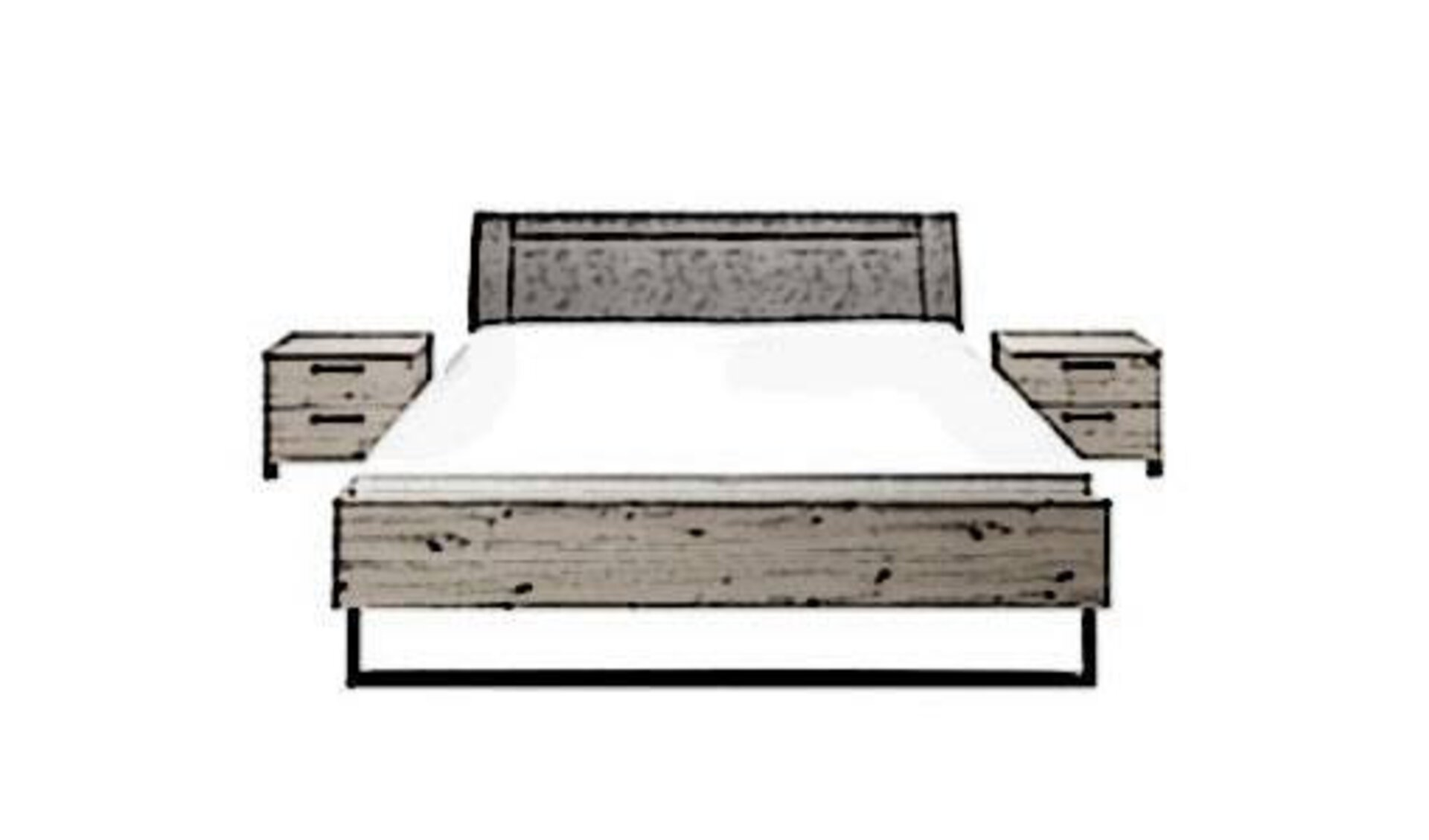 Bett mit Holzgestell, Kopfstütze und Nachttischen links und rechts des Betts zeigt stilisiert die in der Produktwelt enthaltenen Schlafzimmerbetten.