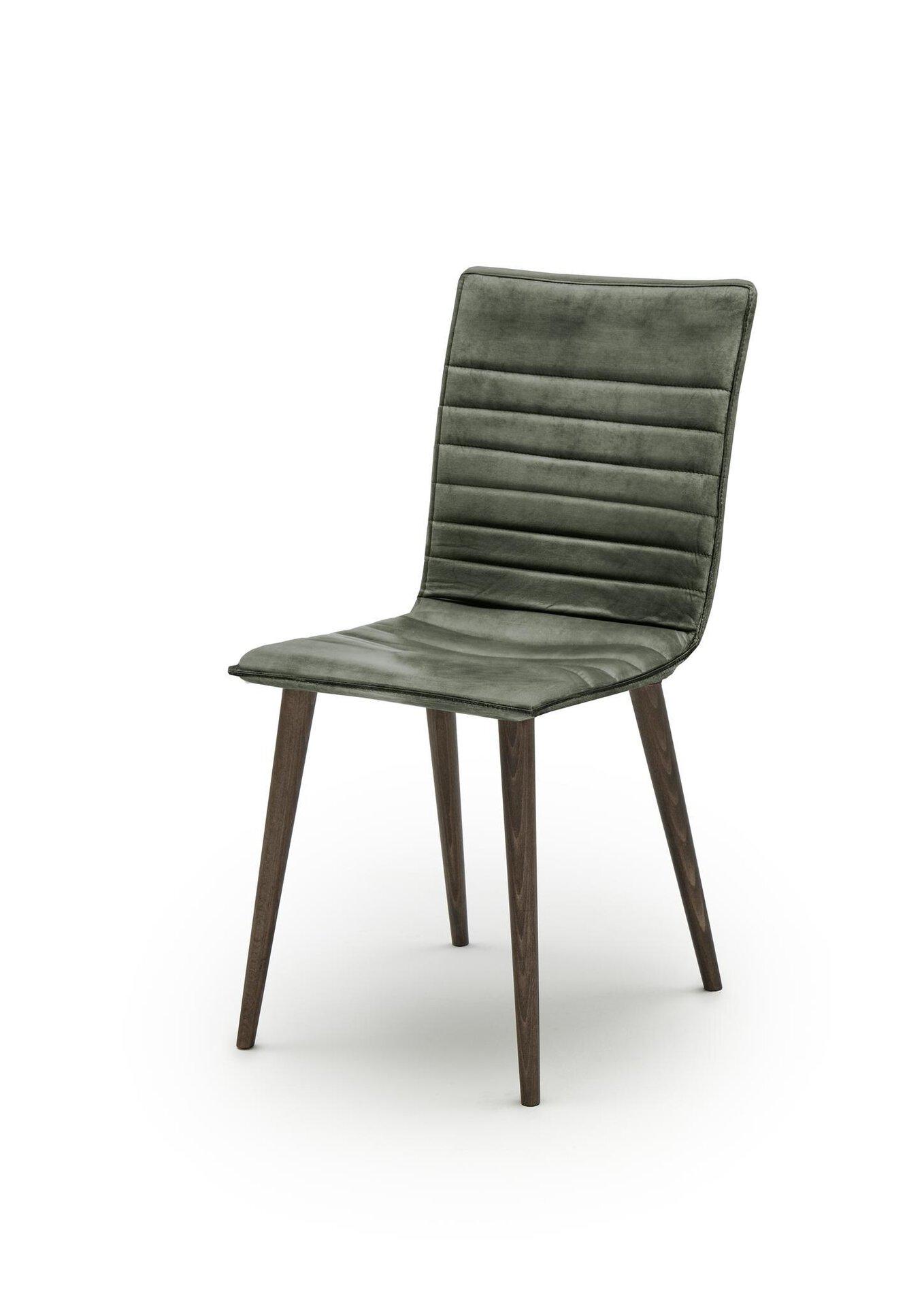 4-Fuß-Stuhl WK7010 Sabina Skinny WK Wohnen Edition Leder grün 56 x 85 x 41 cm