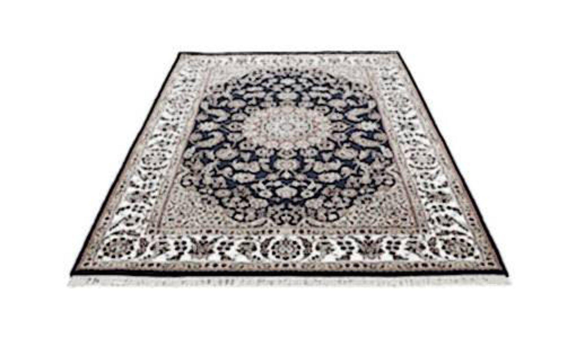 Orientteppiche werden durch einen stilisierten Orientteppich mit typischem Muster in Grau dargestellt.