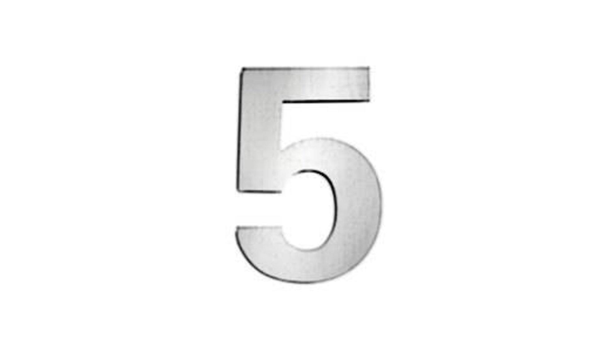 Icon für Hausnummern zeigt eine 5 aus gebürstetem Edelstahl und steht sinnbildlich für alle Hausnummern innerhalb der Produktwelt.