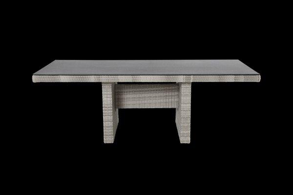 Diningtisch Outdoor Kunststoff, Metall, Textil grau-weiß ca. 100 cm x 75 cm x 220 cm