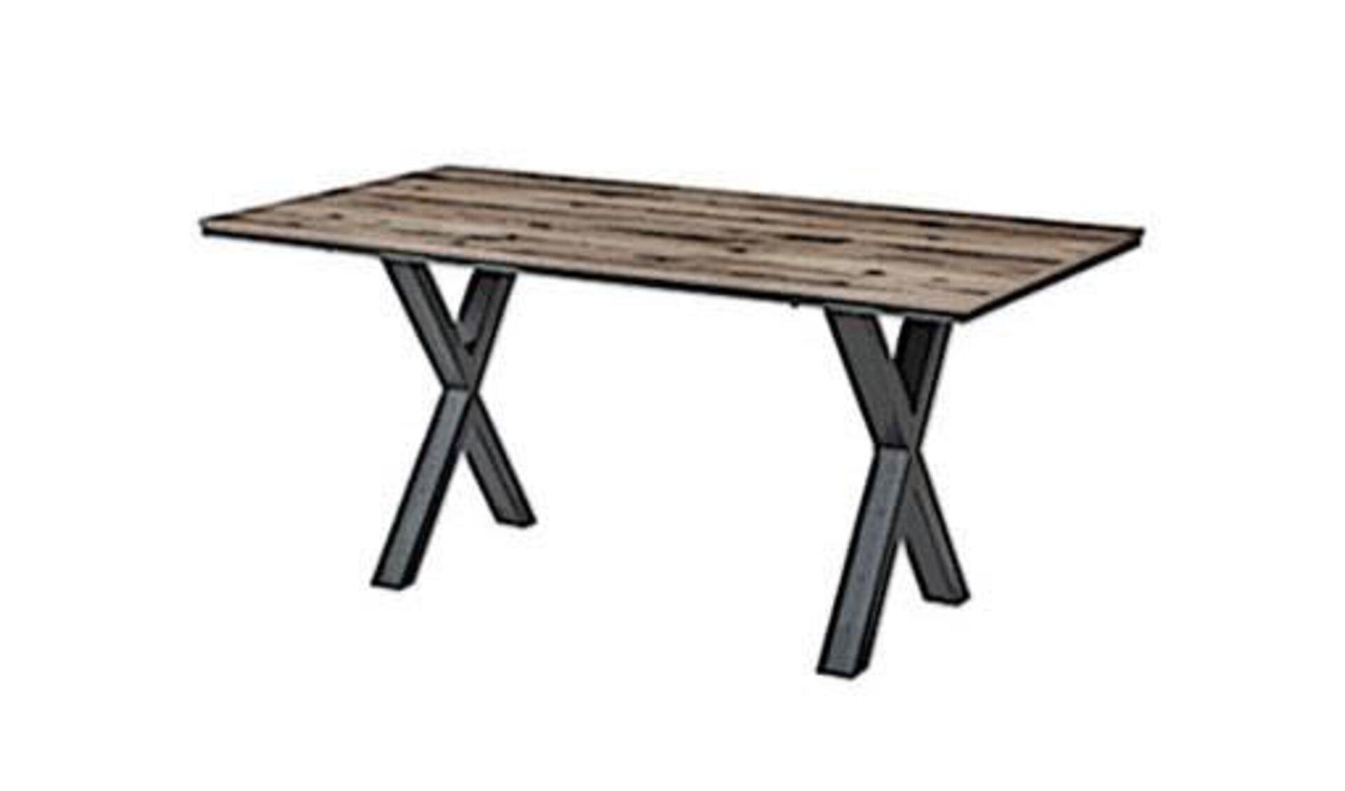 """Esstisch mit Tischplatte aus edlem Holz und gekreuzten Metalltischbeinen, die links und rechts jeweils ein """"X"""" bilden. Der stilisierte Esstisch steht für alle Tische innerhalb der Kategorie """"Esszimmer""""."""