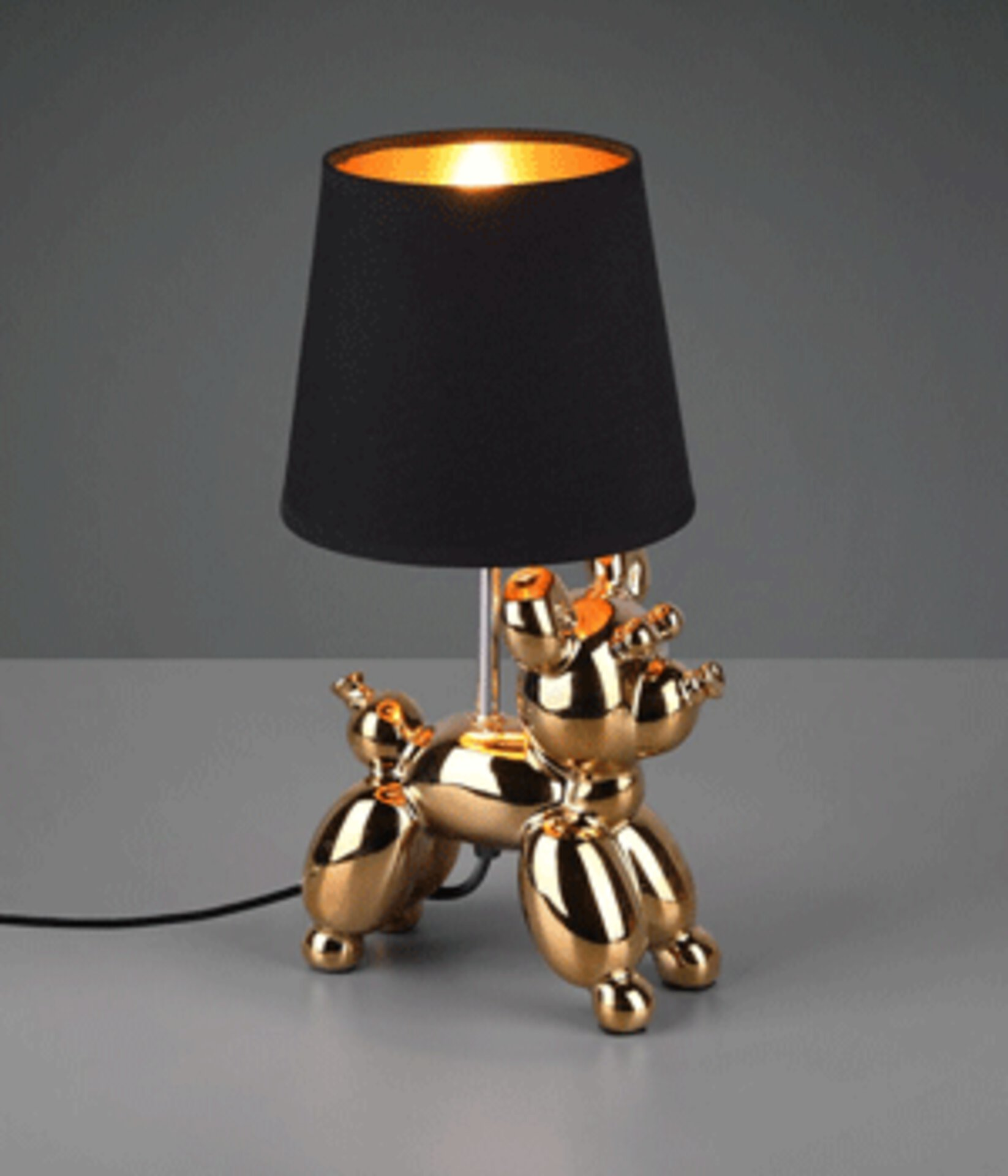 golender Hund als Tischlampe