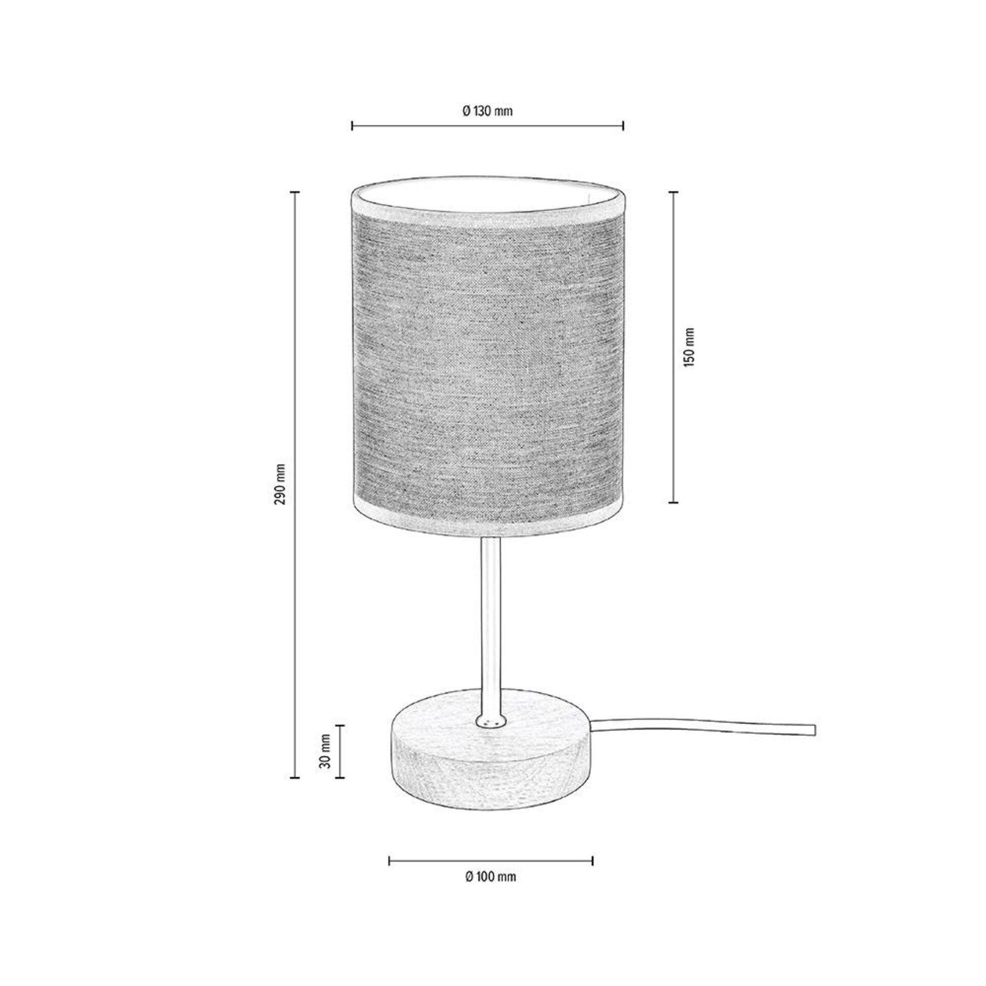 Tischleuchte BELOS MONDO Textil beige 13 x 29 x 13 cm