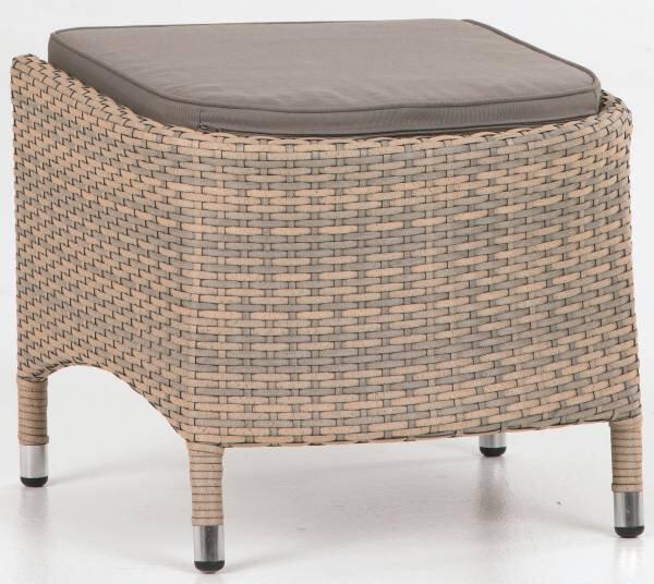 Loungehocker Outdoor Metall, Textil grau ca. 43 cm x 50 cm x 52 cm