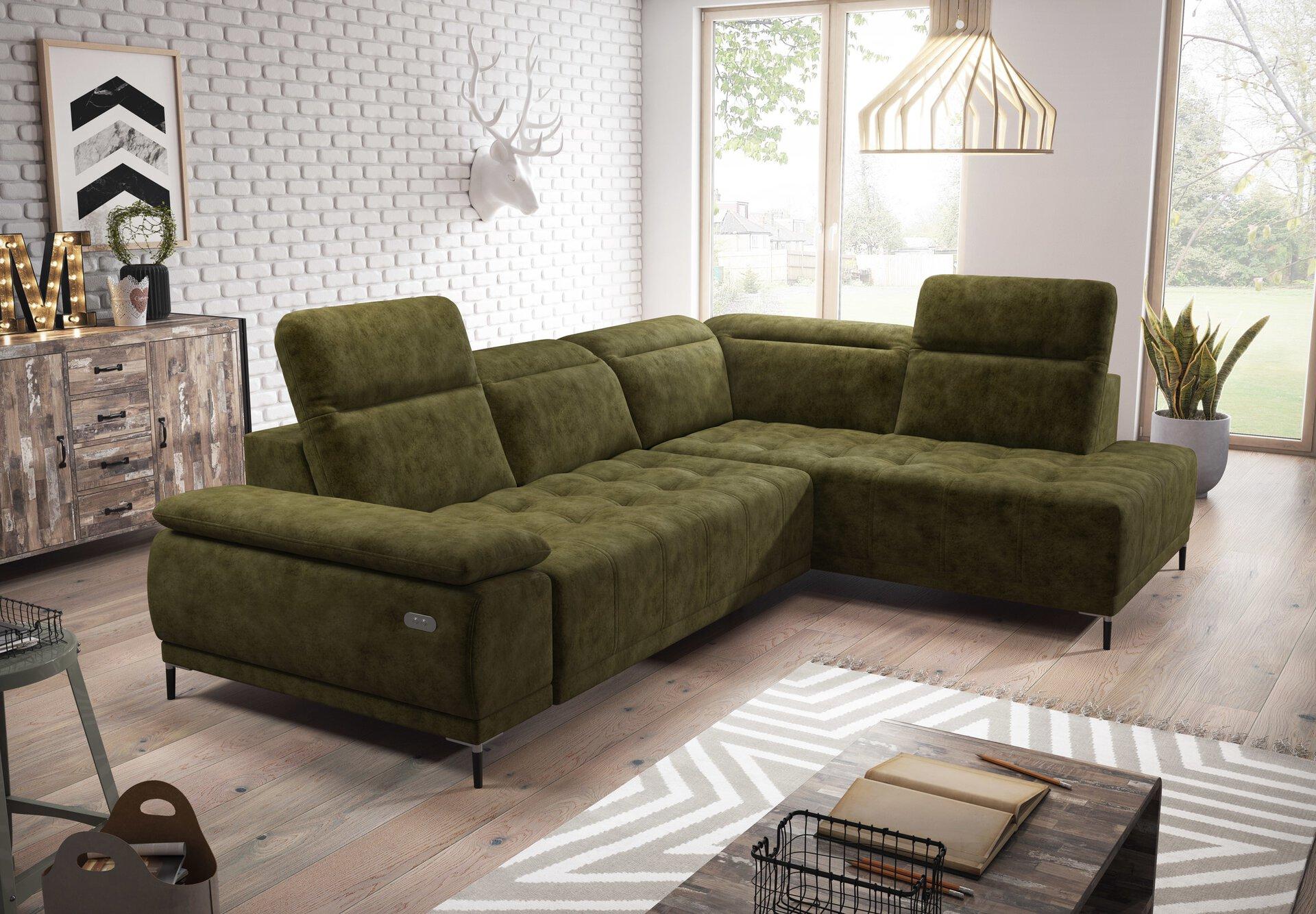 Ecksofa PRIVACY Vito Textil grün 106 x 82 x 278 cm