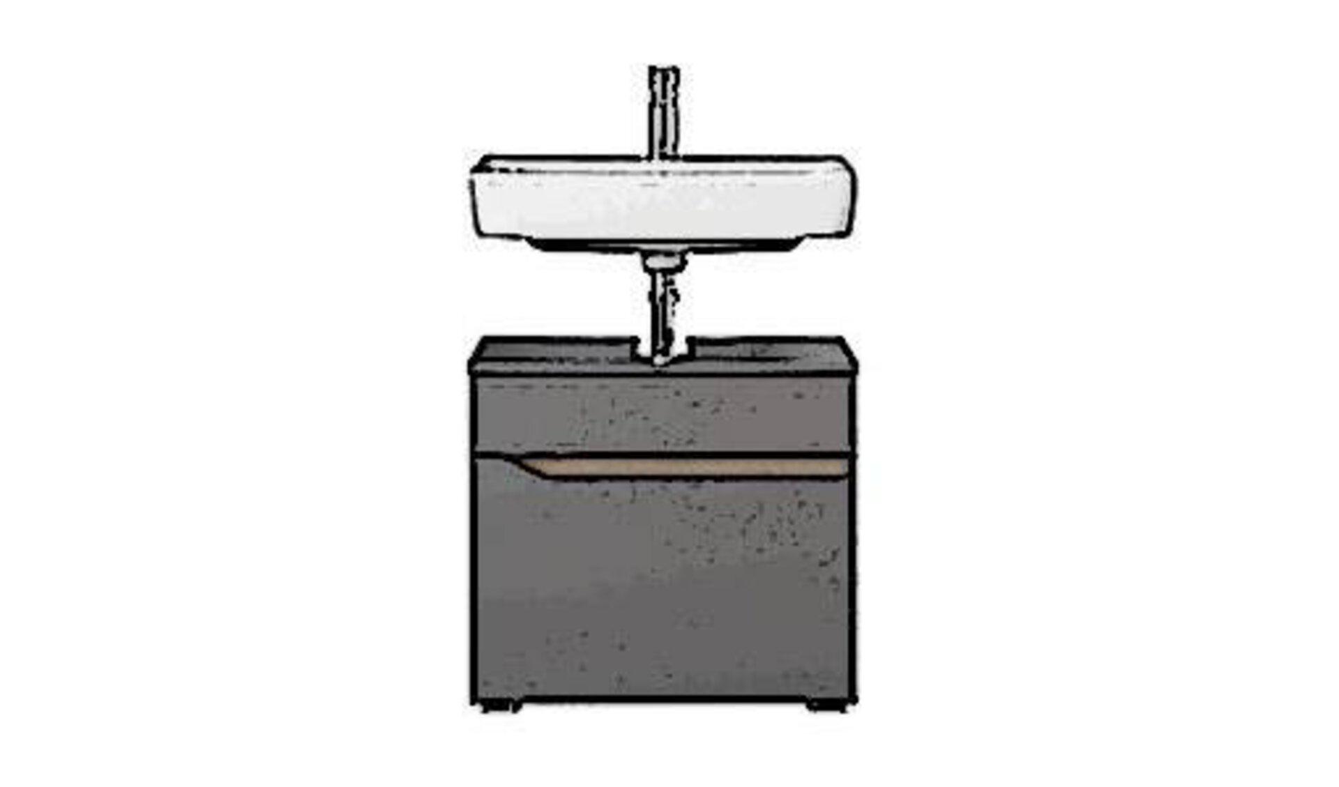 """Die Kategorie """"Waschbeckenunterschränke"""" wird hier durch einen dunkelgrauen Waschbeckenunterschrank abgebildet. Oberhalb davon kann man das weiße Keramik-Waschbecken und ein Teil der Wasserleitung sehen."""