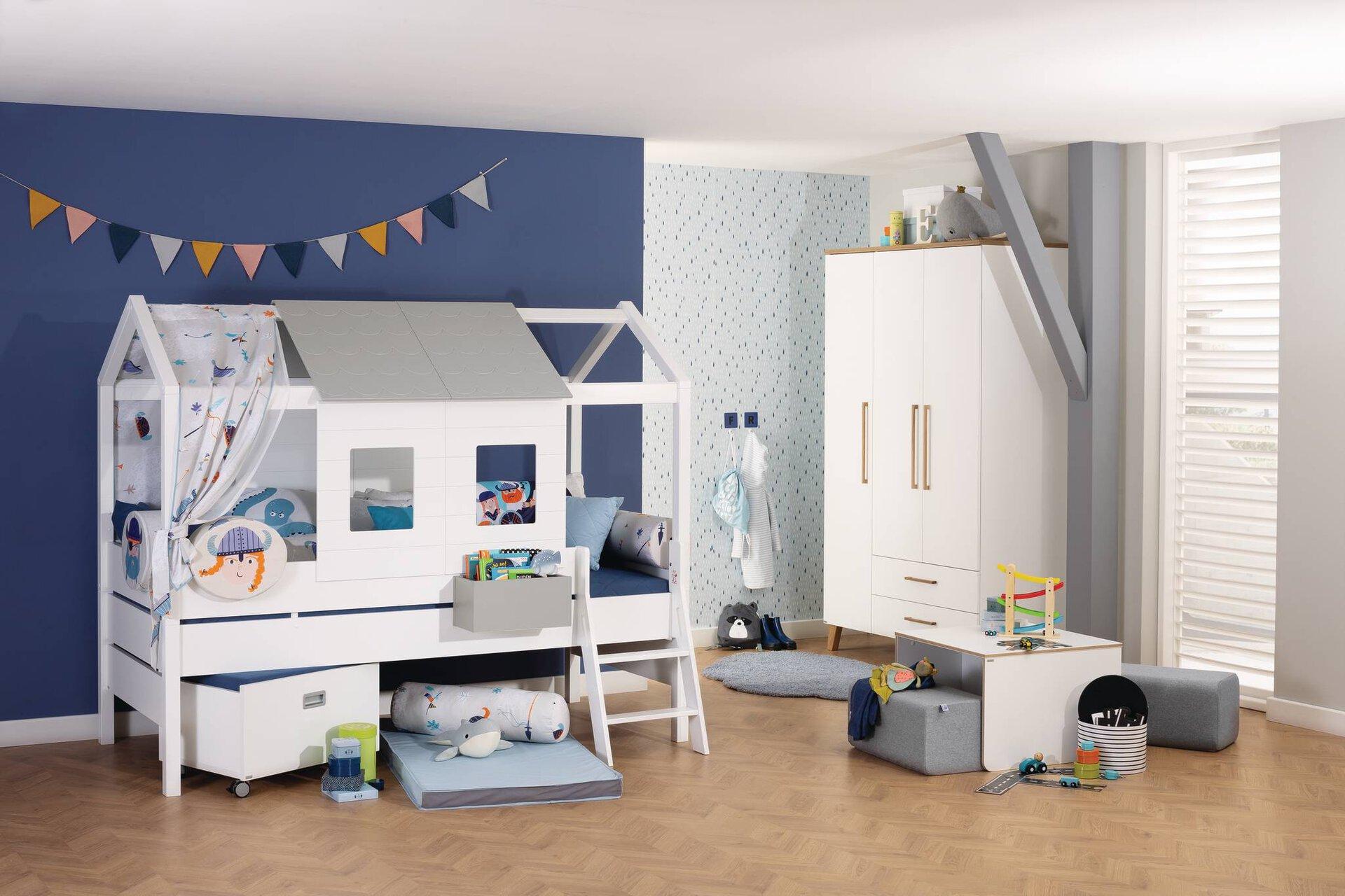 Kinderbett TINY HOUSE PAIDI Holzwerkstoff weiß 210 x 100 x 175 cm