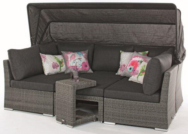 Lounge-Set Outdoor Kunststoff, Metall graumix