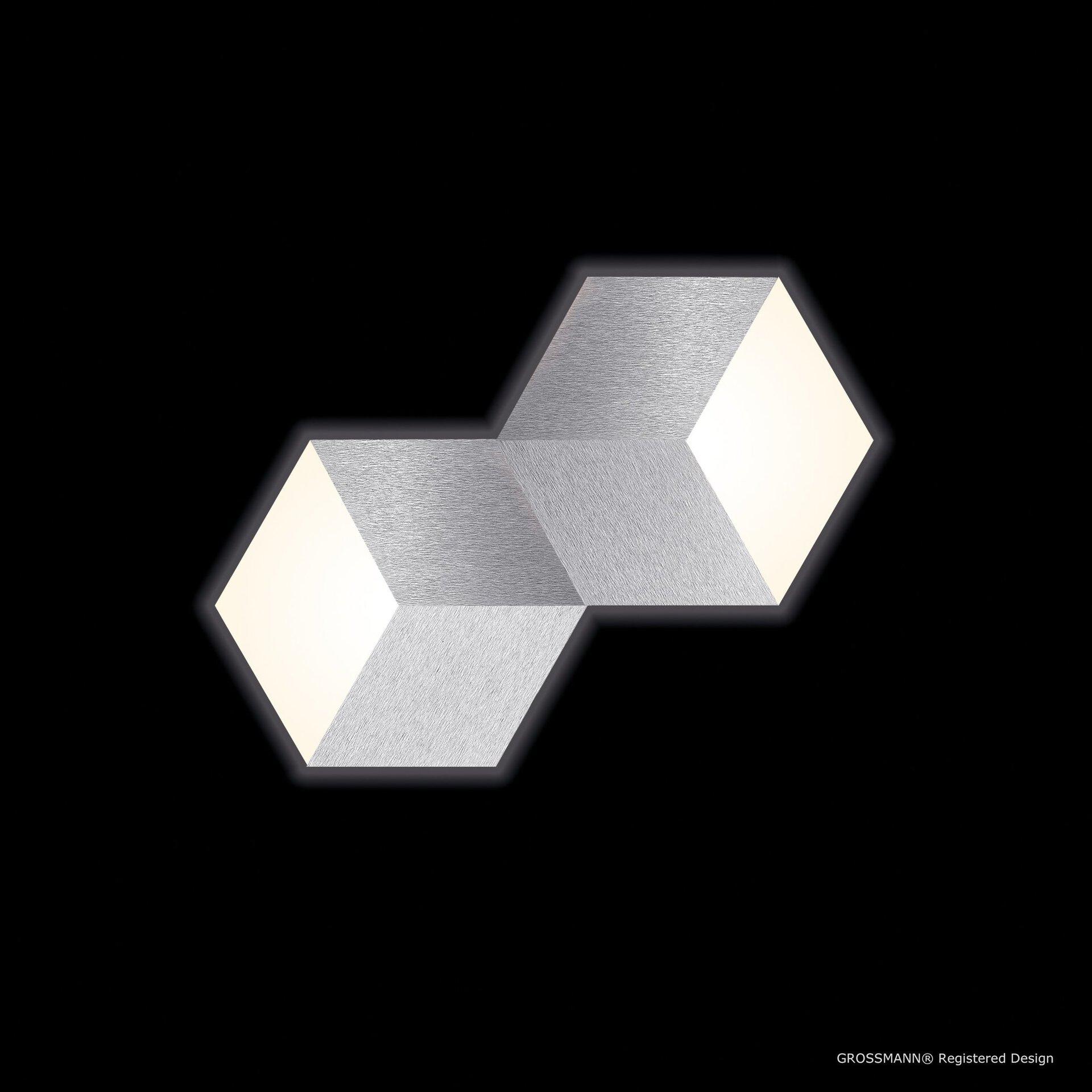 Deckenleuchte geo Grossmann Metall silber 31 x 4 x 53 cm