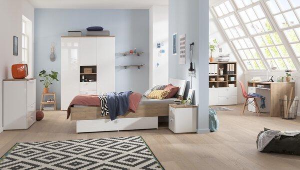 Regal inbuy Holzwerkstoff Weiß Hochglanz ca. 125 cm x 35 cm x 120 cm