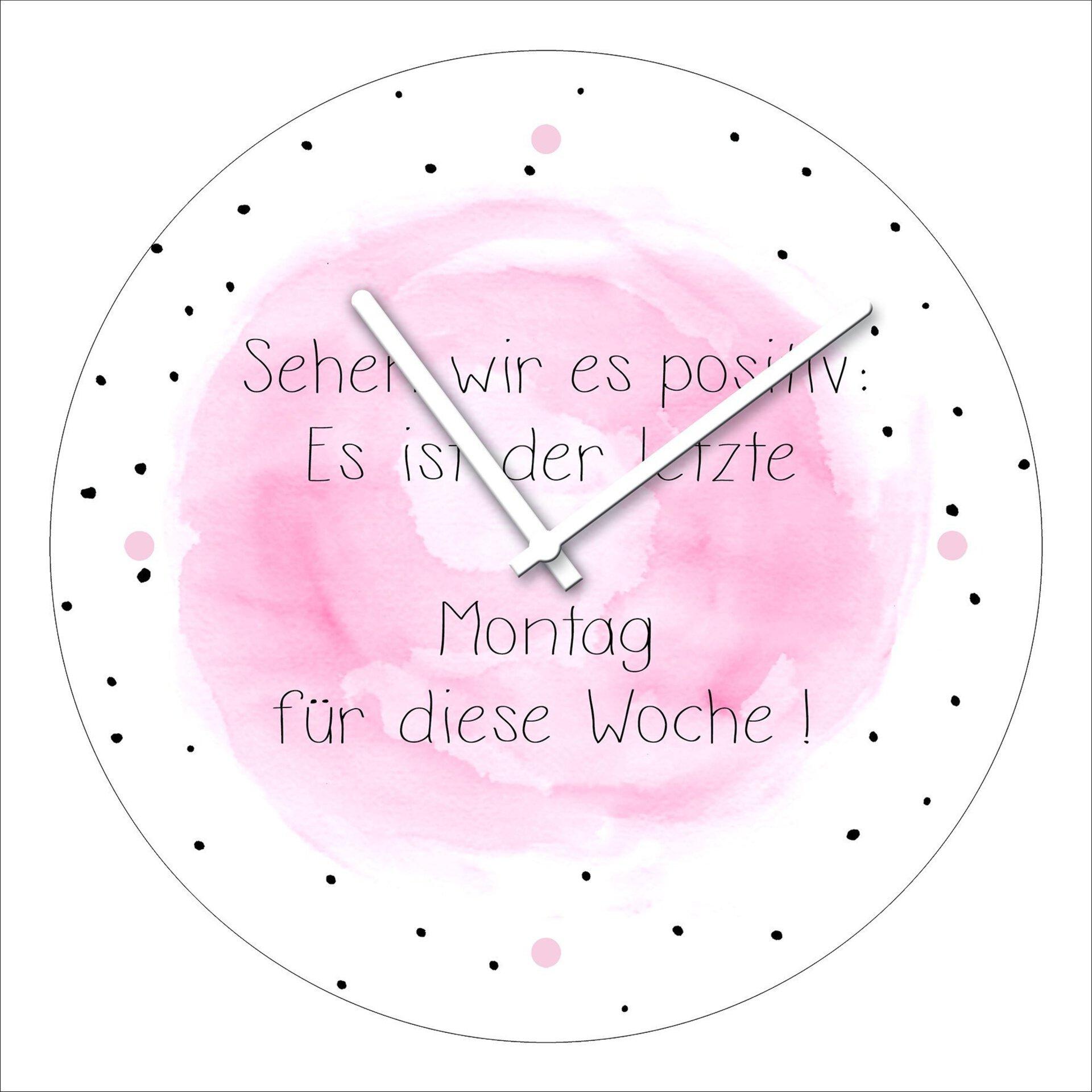 Uhr Letzter Montag Pro-Art Glas 20 x 20 x 2 cm