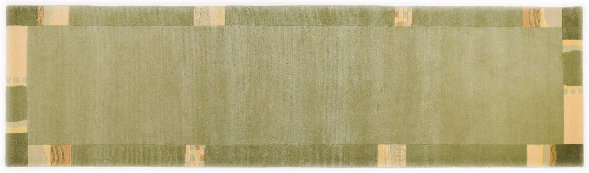 Handknüpfteppich Nepalus Theko Textil grün 2 cm