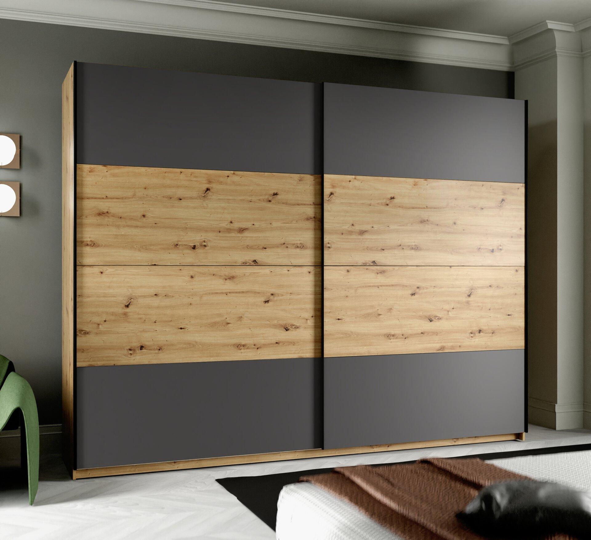 Schwebetürenschrank Neapel 2 Forte Holzwerkstoff 62 x 210 x 270 cm