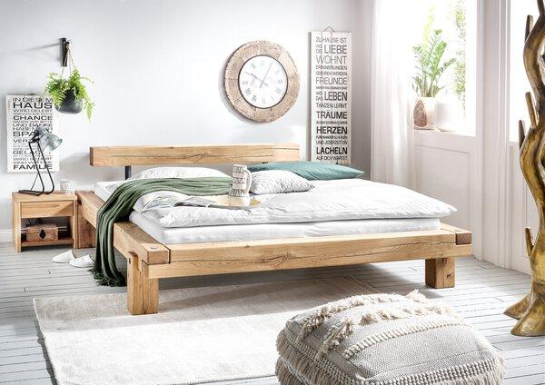 Bett VALMONDO Holz Wildeiche Natur geölt ca. 204 cm x 75 cm x 224 cm