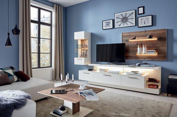 Wohnwand MONDO Holzwerkstoff Lack seidenmatt weiß ca. 56 cm x 197 cm x 325 cm