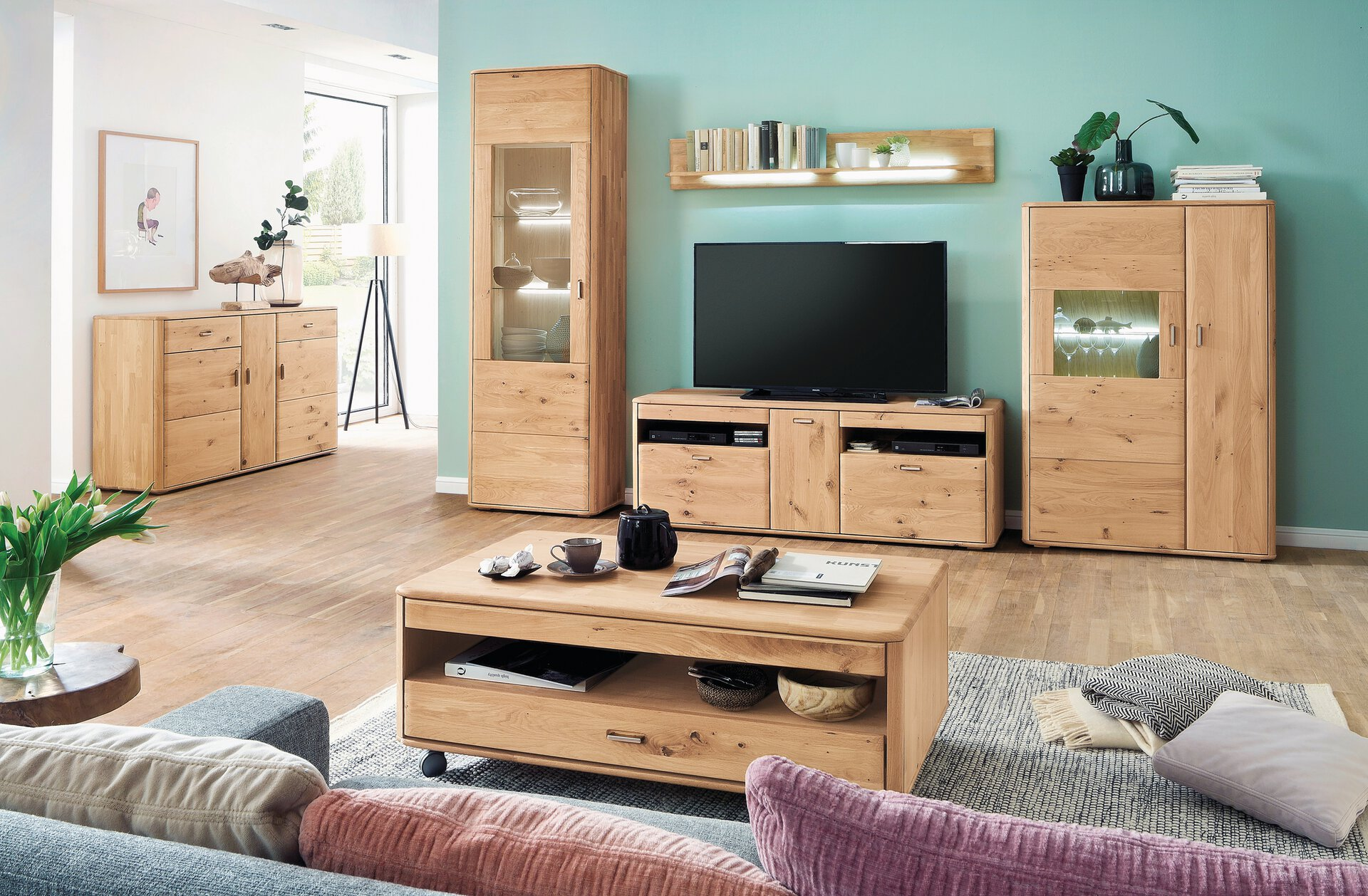 Sideboard TENTRA VALMONDO Holz mehrfarbig 50 x 208 x 323 cm