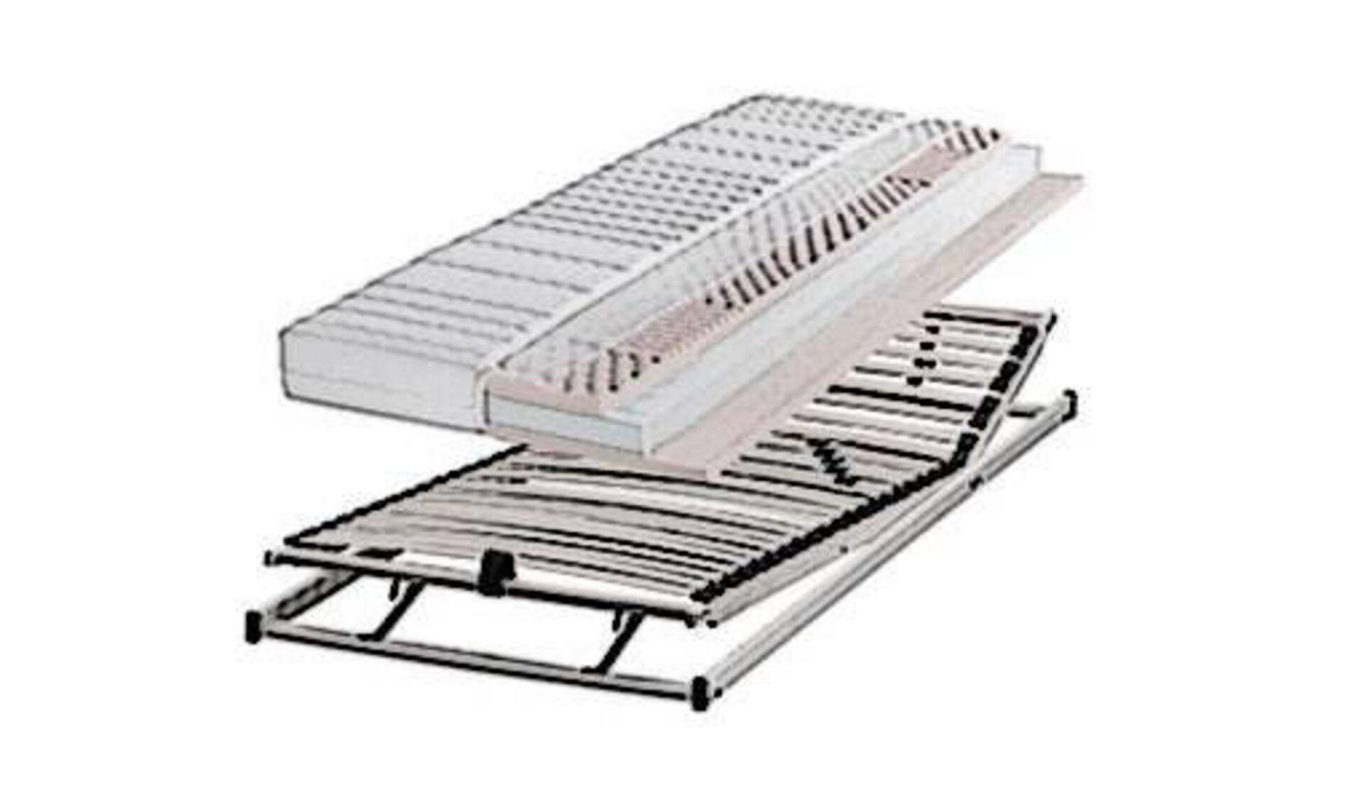 Die Kategorie Matratzen und Lattenroste wird durch einen verstellbaren Lattenrost und einer darüber schwebenden Matratze dargestellt.
