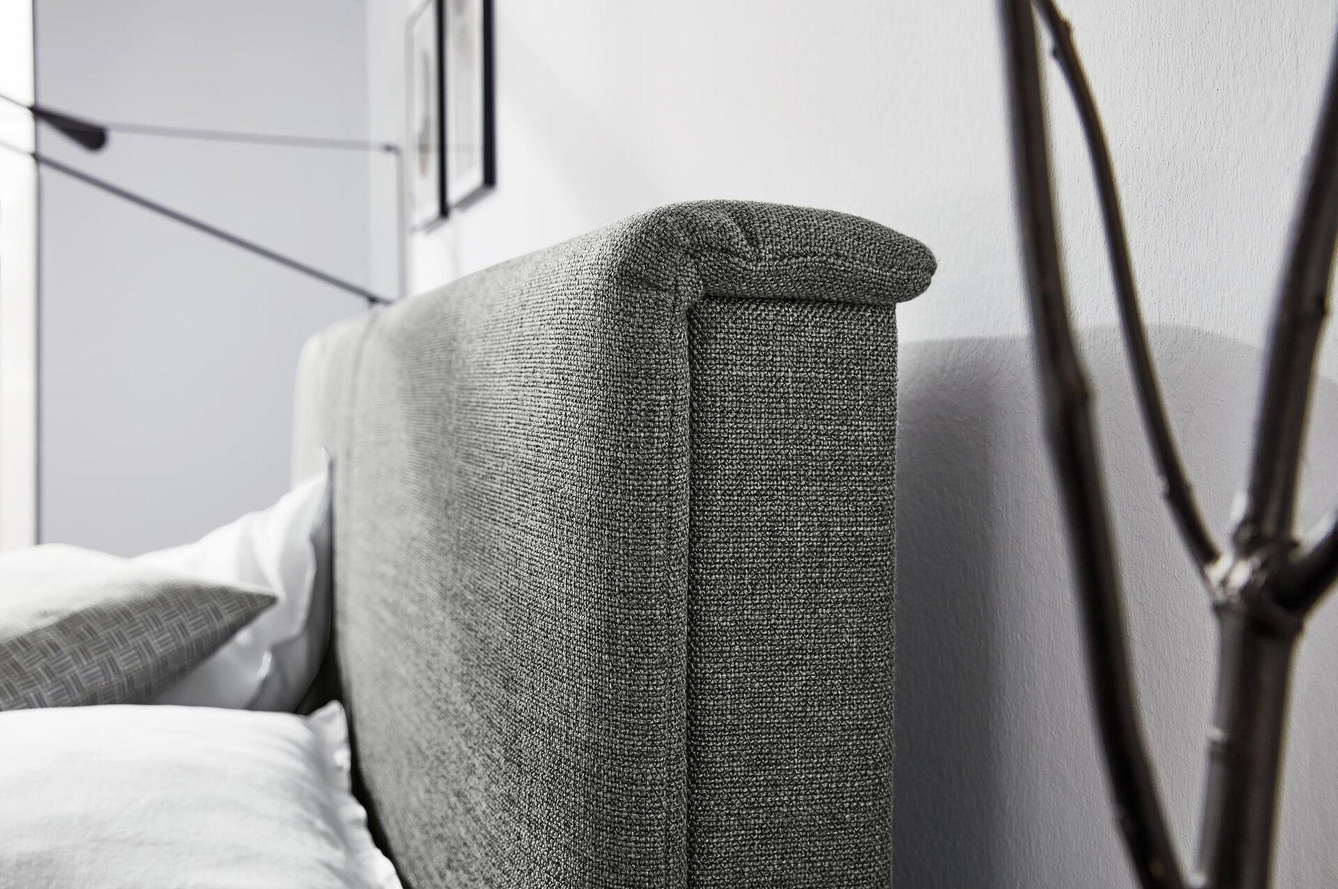 Boxspringbett ARRAN Birkenstock Textil grau 180 x 124 x 200 cm