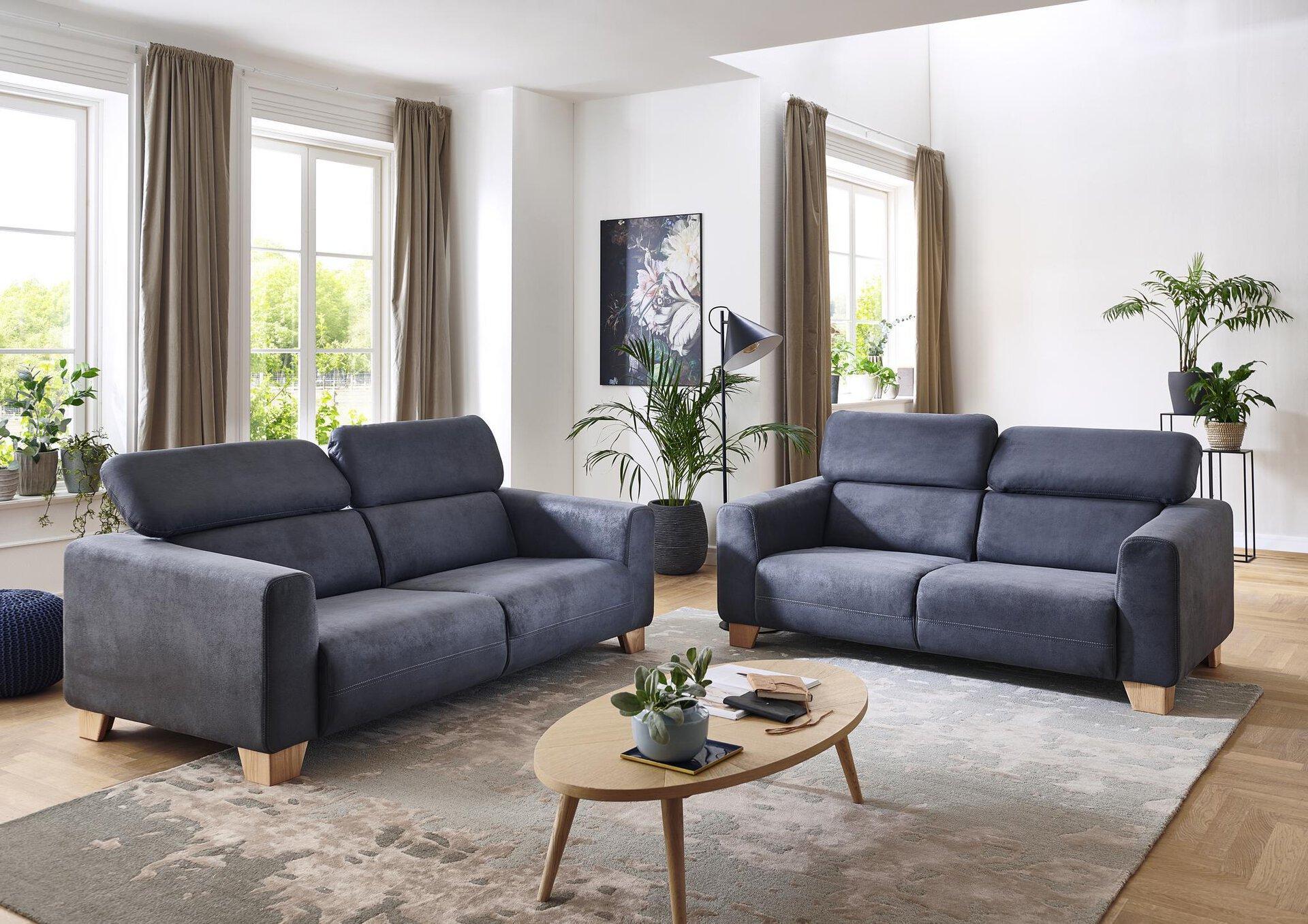 Sofa 2-Sitzer FLORA CELECT Textil grau 107 x 65 x 185 cm