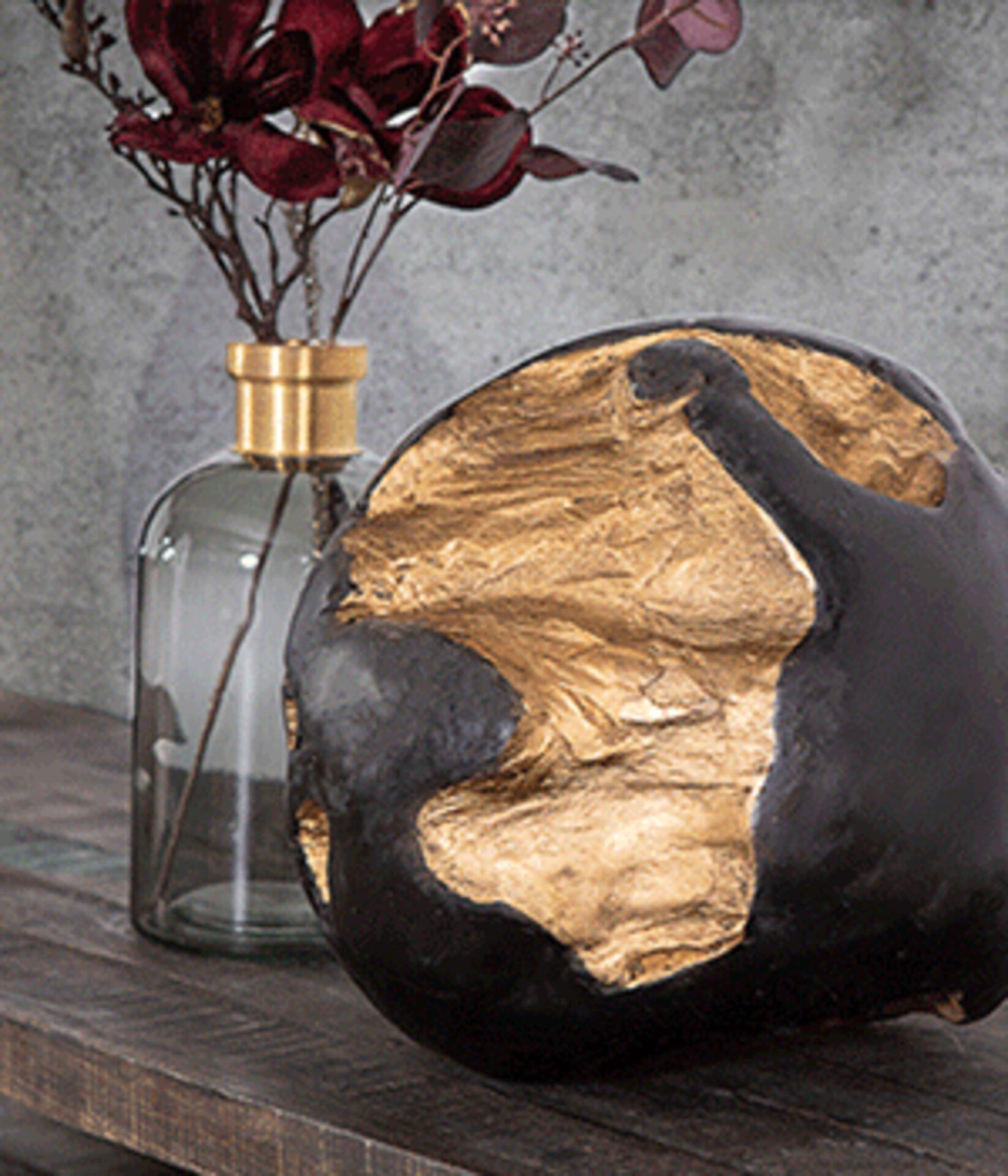 Deko-Holzkugel in schwarz und Gold