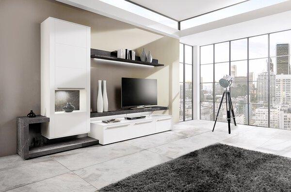 Wohnwand KUBO  Holzwerkstoff Lack seidenmatt weiß ca. 56 cm x 204 cm x 309 cm