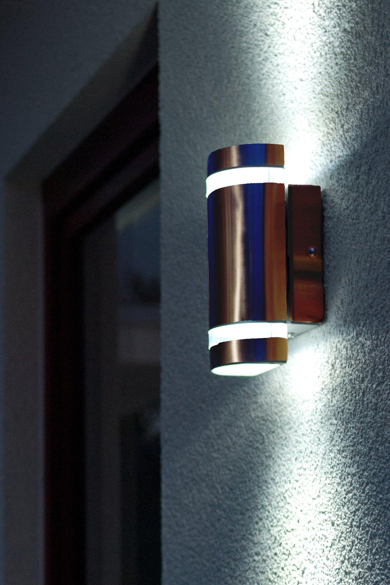 Wand-Aussenleuchte Focus Eco-Light Metall silber 11 x 24 x 11 cm