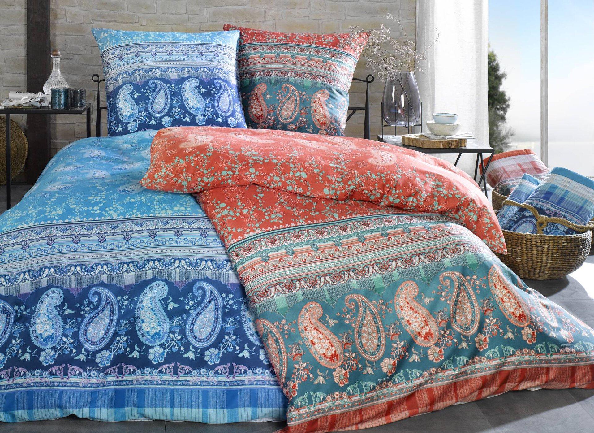 Satin-Bettwäsche ANACAPRI Bassetti Textil Blau 155 x 220 cm