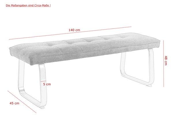 Einzelbank Dinett Metall, Textil Webstoff grau ca. 45 cm x 48 cm x 140 cm