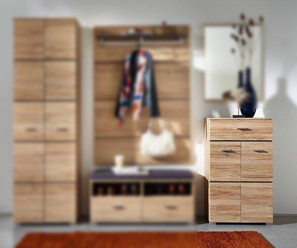 Schuhschrank inDoor Holzwerkstoff Sanremo Eiche hell Nachbildung ca. 40 cm x 104 cm x 60 cm