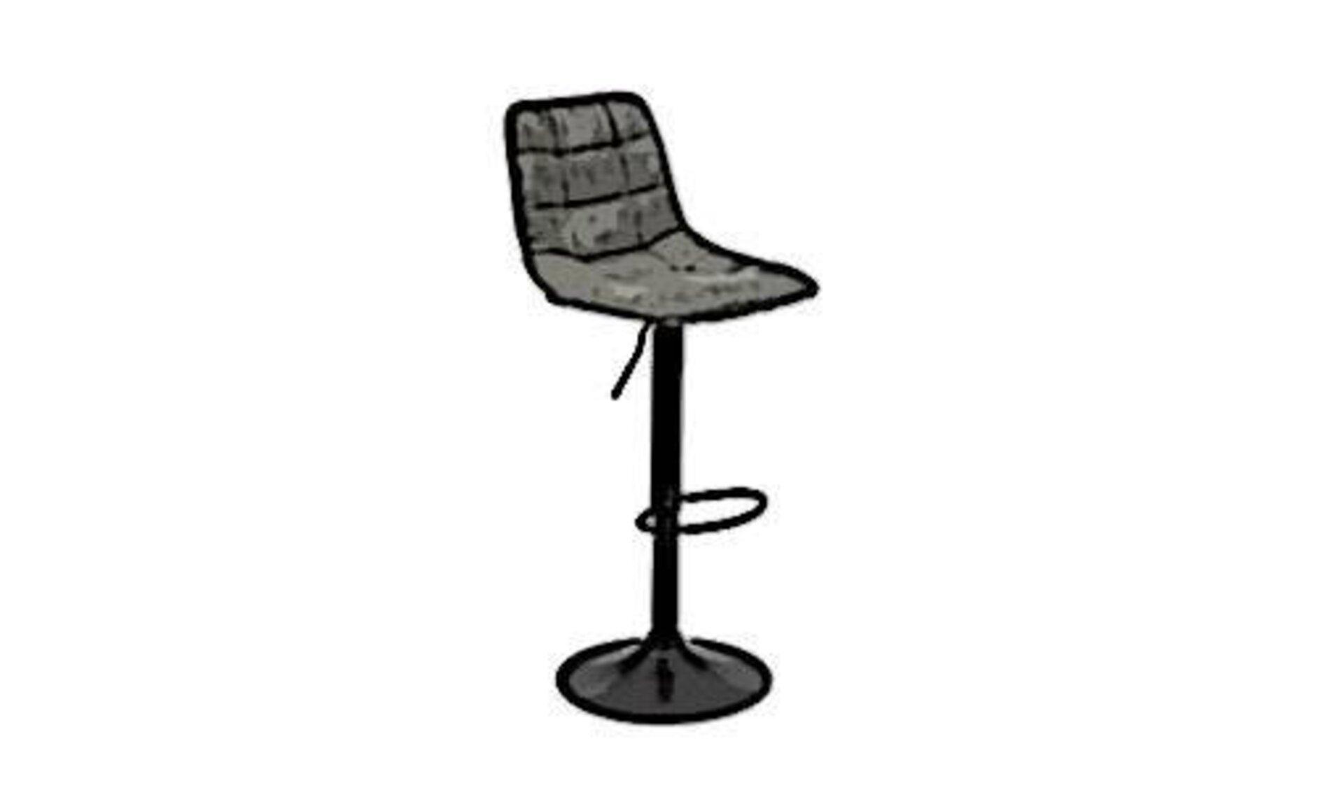 Barhocker mit verstellbarer Sitzhöhe und Metallring zur Fußablage auf halber Höhe des stabilen Metallfußes.