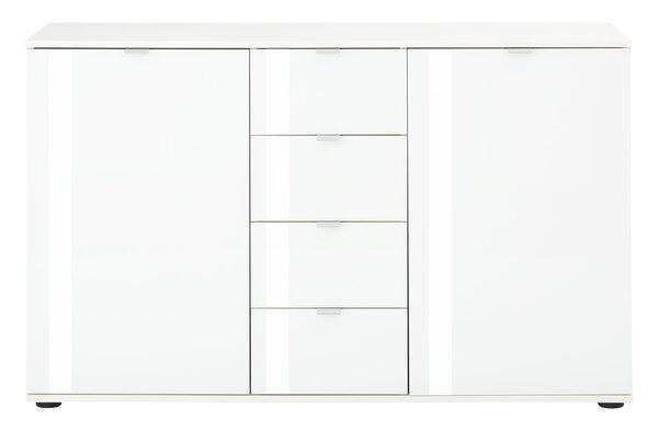 Kommode Vito Glas, Holzwerkstoff weiß matt Weißglas ca. 40 cm x 82 cm x 129 cm