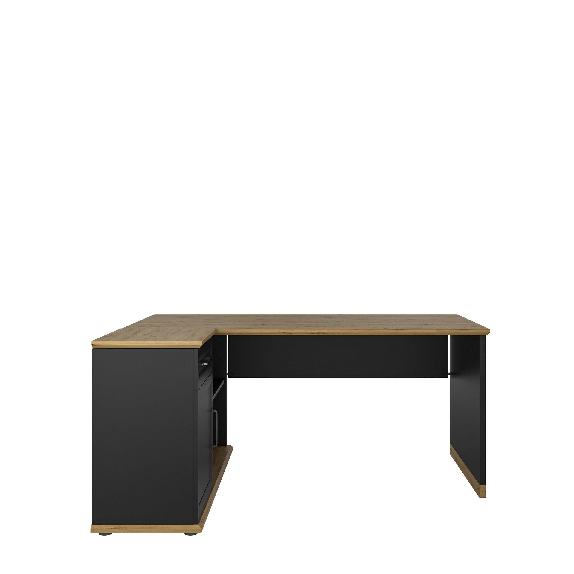 Eckschreibtisch KOBUS Vito Holzwerkstoff grau 77 x 124 x 168 cm
