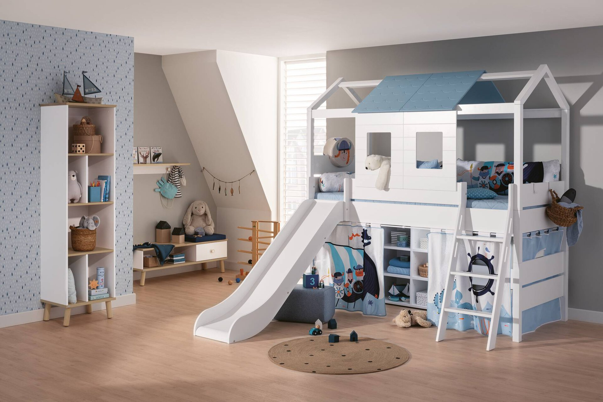 Spiel- Hochbett TINY HOUSE PAIDI Holzwerkstoff weiß 210 x 135 x 215 cm