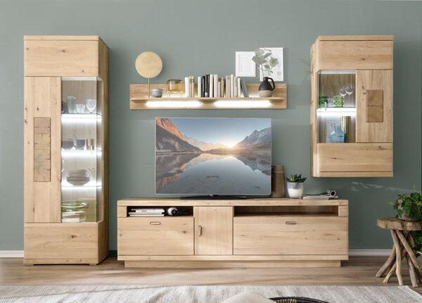 Wohnwand VALMONDO Holz Eiche bianco ca. 50 cm x 203 cm x 320 cm