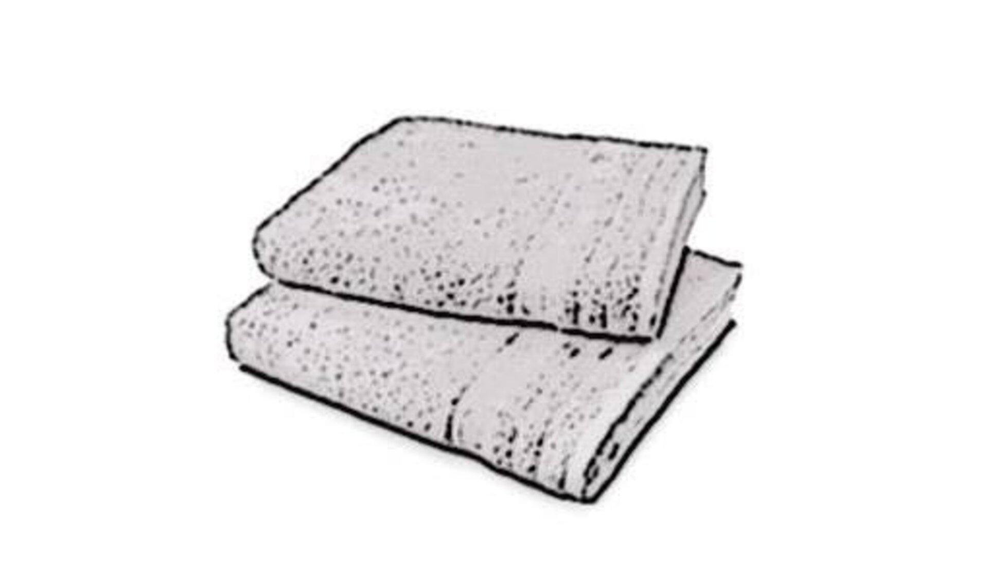 Icon für Handtücher und Waschlappen zeigt ein gefaltetes Frotte-Badetuch und darauf einen Waschlappen, ebenfalls aus Frotte.
