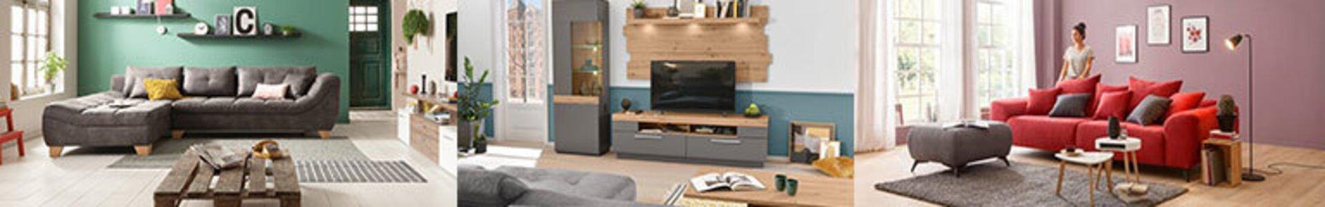 Banner auf der Markenseite Livin zeigt typische Möbel der Marke.